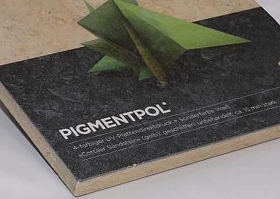 Plattendirektdruck auf Sandsteinplatte